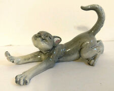 Kitty Cantrell STRETCH Kitty's Kennel RARE gray cat porcelain resin figurine