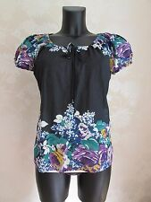 MONSOON Black Cotton Tie-Front Roses Flowers Summer Blouse Top UK 14 BNWOT