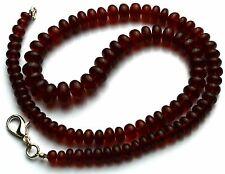 "Natural Gem Hessonite Garnet Big 6 to 10MM Smooth Rondelle Beads Necklace 18"""