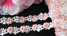 Amazing  pink/white flower embroidery lace trim- ribbon - price for 1 yard