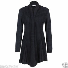 New Womens Ladies Knitted Waterfall Cardigan Boyfriend Jumper Plus Size UK 16-26