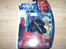Star Wars Darth Maul Action Figure w Galactic Battle Game Card Die & Base Dice N