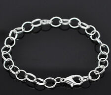 NEW Silver Plated Lobster Clasp Clip On Charm Bead Link Chain Bracelet 20cm C