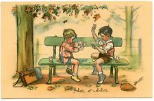 ILLUSTRATEUR GERMAINE BOURET.ENFANTS.JEUX DE CARTE.BELOTE.CARD GAMES.CHILDREN.