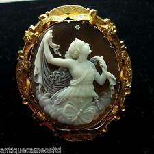MUSEUM QUALITY RAREST SHELL CAMEO BROOCH OF PSYCHE THE GODDESS OF SOUL, LAYAWAY!