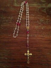 Vintage Catholic Rosary Beads, Ruby Red & Crystal Clear, Handmade