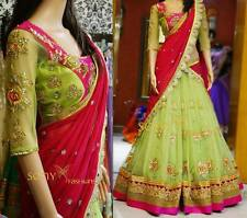 DESIGNER PARTY WEAR PARROT GREEN & PINK COLOR UNSTITCHED LEHENGA CHOLI