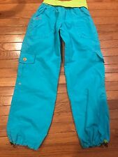 ZUMBA dance workout capri cargo pants blue  with yellow foldover waist Large