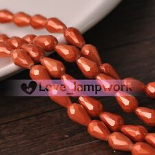 Bulk Lot 10pcs 10mm Red Copper Shiny Crystal Teardrop Faceted Loose Glass Beads