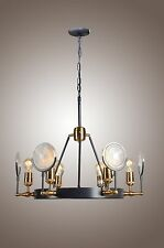 New 6 Light Industrial Restoration Hardware Gaslight Lens Chandelier