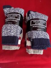 6 Pair Womens West 25th Street Casual Cotton Ragg Sock 9-11 Made in USA