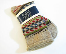Cabot Vermont Ladies Crew Boot Socks Fair Isle Patterned Roll Top Oatmeal  - NEW