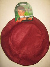 SOLDIERS BERT HAT ADULT SIZE IN WINE RED COLOUR FOR FANCY DRESS.