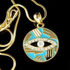 w Swarovski Crystal Gold Pl ~Hamsa Hand Evil Eye Turquoise Circle Charm Necklace
