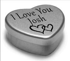 I Love You Josh Mini Heart Tin Gift For I Heart Josh With Chocolates or Mints