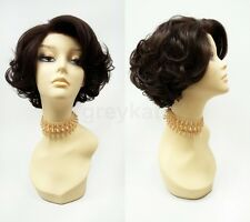 Pre-Trimmed Lace Front Short Brown Curly Wig Heat Resistant Retro Vintage Style