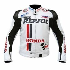 HONDA REPSOL WHITE  MOTORBIKE LEATHER JACKET - CE APPROVED FULL PROTECTION
