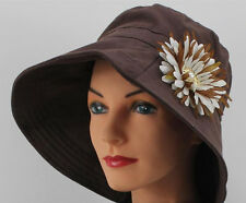 Chic BROWN Wide Brim SUN HAT  UPF 50+ Chemo Headcover FREE SHIPPING!! Cancer Cap