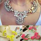 Crystal Jewelry Pendant Flower Necklace Choker Bib Statement Chunky Collar Chain