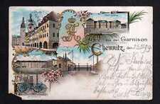 111326 AK Chemnitz 1899 Litho Gruss aus der Garnison Wache Kaserne Mitrailleuse