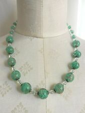 Art deco Vintage Venetian Green Aventurine Sommerso Glass Necklace