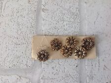 Vintage 1960 Gold Colour Metal Flower Shape Buttons x 5 Haberdashery DIY