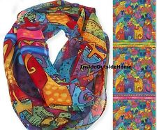 Laurel Burch Cat Feline Tribe Infinity Neck Scarf Multi-Color NEW 2017