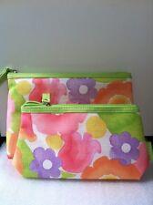 Clinique 2-PCS Flower Colorful Print Cosmetic Bag, Pouch