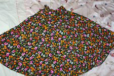 Fab Vtg 70s rockabilly 50s summer floral Cotton full skirt Orange Pink UK 6 XS