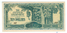 1944 WWII Japanese Malaya $10 MP Note - Banana Money - Invasion Money - Ch. UNC!
