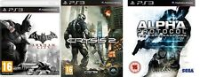 batman arkham city & crysis 2 (no manual) & alpha protocol (disc+manual NO CASE)