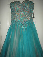 $389 NEW WOMENS TERANI COUTURE PROM HOMECOMING DRESS SIZE 6 TURQUOISE BEADED