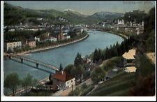 Salzburg Österreich Postkarte 1912 gelaufen von Mülln gesehen Brücken Fluß