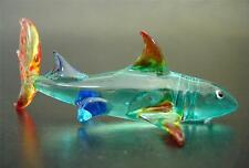 Glass Reef SHARK, Tinted Turquoise Body, Red Fins, Glass Animal Ornament, Gift