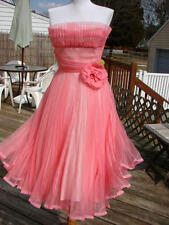 BETSEY JOHNSON RARE VINTAGE PLEATED ORGANZA COCKTAIL PARTY DRESS~SIZE 6 PEACH