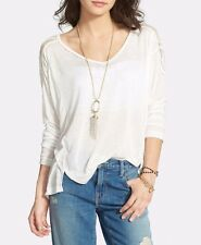 133724 New Free People Gatsby Embroidered Tee Patchwork Blouse Tunic Top XS