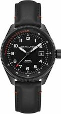 H76695733 Hamilton Khaki Field Automatic Mens Watch Black Dial Black Leather NEW