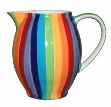 WINDHORSE Ceramic Rainbow Striped Jug Large Water Milk Pitcher Carafe 900ml NEW