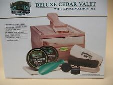 Deluxe Cedar Valet – Cedar Shoe Shine Box with accessories- Brand New