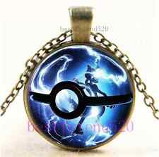 Vintage Pokemon Mew Ball Photo Cabochon Glass Dome Bronze Pendant Necklace