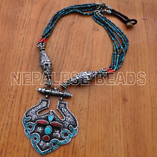 "SS13 Nepalese Vintage Old Sterling Silver Turquoise Necklace 27 1/2"" Nepal Tibet"