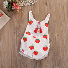 Summer Baby Girls Clothes Strawberry Romper Toddler Jumpsuit Infant Outfits 3-6M