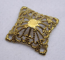 Square Filigree Raw Brass Jewelry Findings for Fashion Design bf091 (15pcs)
