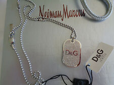 "DOLCE & GABBANA JEWELS CRYSTAL D&G LOGO DOG TAG 26"" NECKLACE/CHAIN MSRP $225.00"