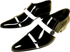 CHELSY UNUSUAL BLACK WHITE MEN'S SHOE SLIPPERS PATENT LEATHER LEATHER SOLE 39