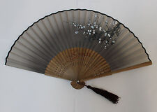 Chinese Ladies Silk & Bamboo Folding Fan Hand Fan Plum Flower Painting-Gray