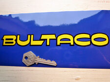 "BULTACO TEXT Yellow & Black Motorcycle STICKERS 8"" Pair Classic Bike Retro"
