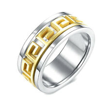 New Fashion Stainless Steel Men's Gold Plated  Wedding Engagement Rings Size 10
