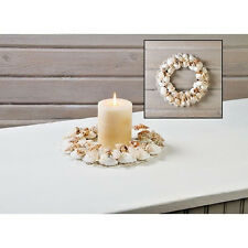 Bedazzled Seashell Shell Candle Ring - Wreath,  Beach Coastal Nautical Decor
