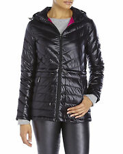 DKNY NEW WOMENS CHVRN HZTNL PACKABLE DOWN LONG QUILT BLACK COLOR  JACKET Sz L